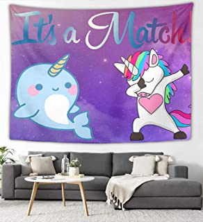 NiYoung Hippie Art Tapestry Wall Hanging, Purple Galaxy Cute Narwhal Dabbing Unicorn Wall Blanket Mandala Tapestries for Home Living Room Dorm Decor 40