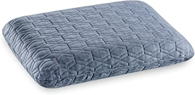"""The White Willow Orthopedic Cooling Gel Memory Foam Standard Size Neck & Back Support Sleeping Bed Pillow with Premium Knitted Viscose Fabric Zipper Outer Cover (22"""" L x 16"""" W x 5"""" H) -Grey"""