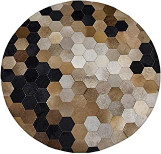 FYD-xml Cowhide Rug Leather Animal Skin Patchwork Area Carpet - Cowskin Hand Made Sewing Mosaic Hexagon Geometric Brown Beige and Grey Area Rug - Round Leather Area Rug Cow Skin,Round1.5m/5'ft