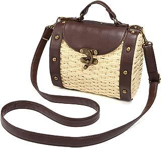 JOSEKO Top Handle Straw Bag, Womens Straw Handbag Shoulder Crossbody Bag Summer Beach Tote Purse