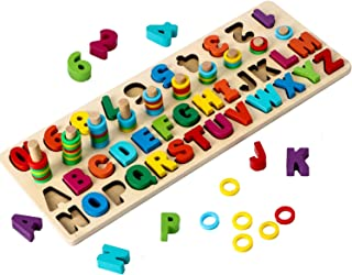 Wooden Puzzles for Toddlers Kids, ABC Alphabet & Number Puzzle Board, Stacking Rings Toys, Math Counting Blocks Shape Sorter Early Educational Learning Wood Jigsaw Board Montessori Toys for 3 4 5 Years Old Boys Girls