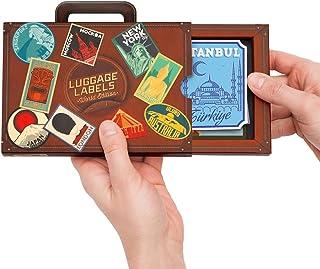 Etiquettes de bagages - Etiquettes et autocollants d'identification de valise de style vintage - Lot de 16 étiquettes de v...