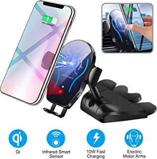 Car CD Player Slot Wireless Charger Phone Mount-Automatic Infrared Smart Sensing Qi 10W 7.5W Fast Wireless Charging Universal Holder for Cell Phone,Including Air Vent Cradle