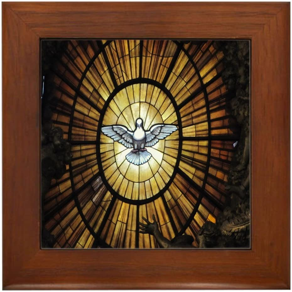 CafePress Stained Glass Dove Framed Louisville-Jefferson County Mall Decorative Tile Max 78% OFF H Wall