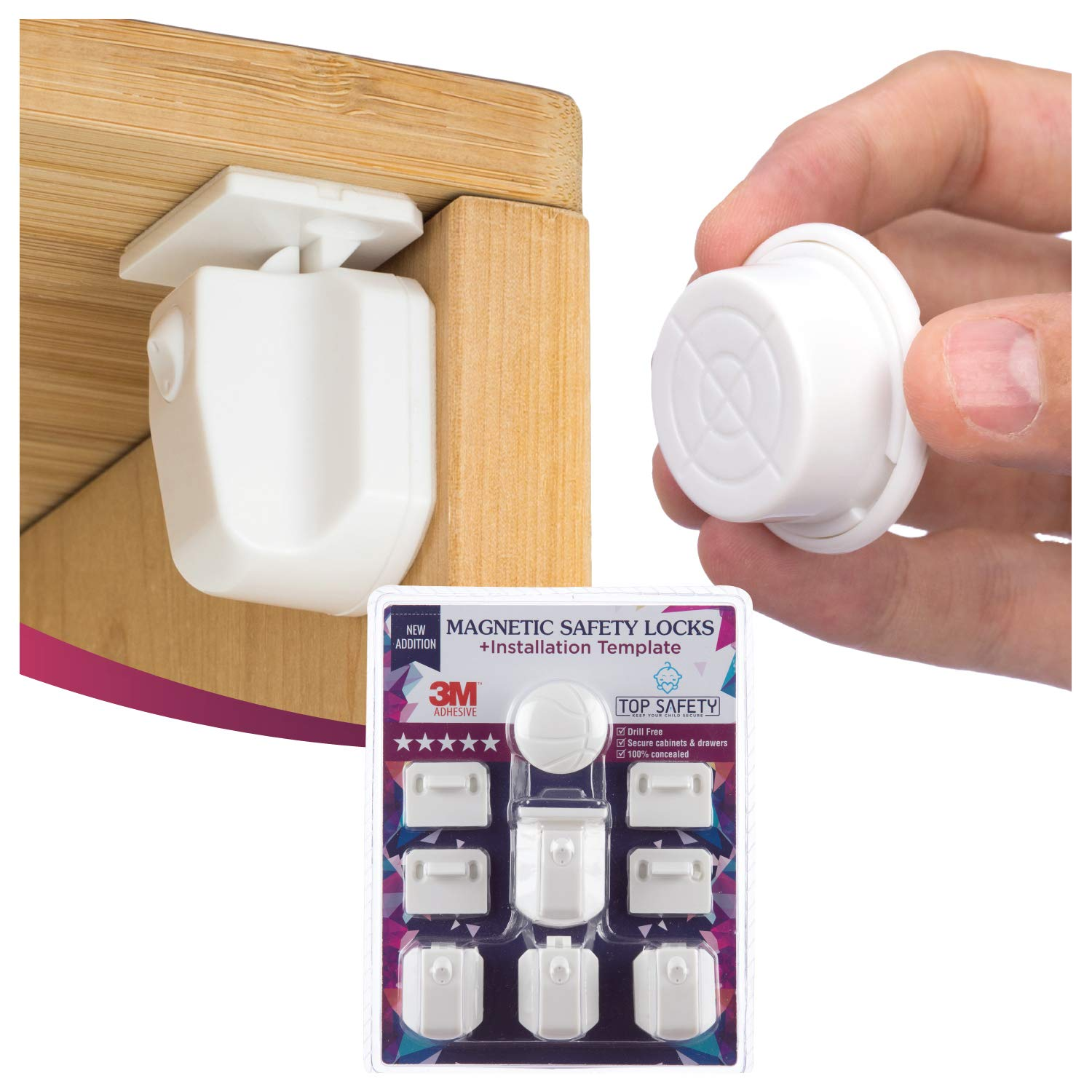 Magnetic Cabinet Locks Child Safety Adhesive a Key 4 Dallas Mall Bargain sale 3M