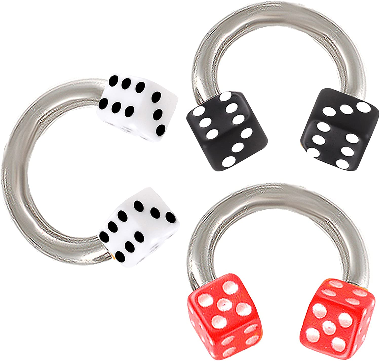 bodyjewellery 16g 16 Gauge 1.2mm 1/4 6mm Dice Horseshoe Rings Circular Barbell Bars Eyebrow Tragus Steel APTC 3pcs