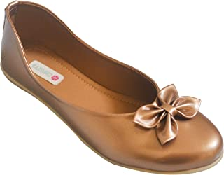 Chipbeys Bellies Round Toe Ballerina Shoes for Girls with Bow Details Anti Skid Sole Rose Gold