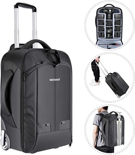 NEEWER 2-in-1 Convertible Wheeled Camera Backpack Luggage Trolley Case with Double Bar, Anti-Shock Detachable Padded ...