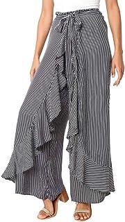 Qootent Women Wide Leg Pants Summer Striped High Waist Ruffled Casual Trousers