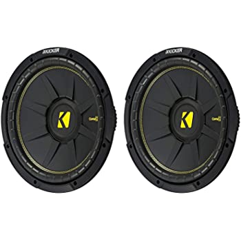 KICKER 12 Inch CompC 1200 Watt 4 Ohm Single Voice Coil SVC Subwoofer (2 Pack)