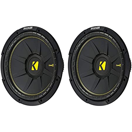 KICKER 44CWCS124 CompC 12 Inch 600 Watt 4 Ohm Single Voice Coil Car Audio Subwoofers with Polypropylene Cone and Polyurethane Surround, Pair