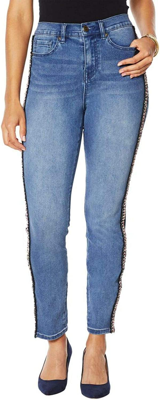 DG2 by Diane Gilman Women's Petite Side Stripe Skinny Jeans. 720467-Petite