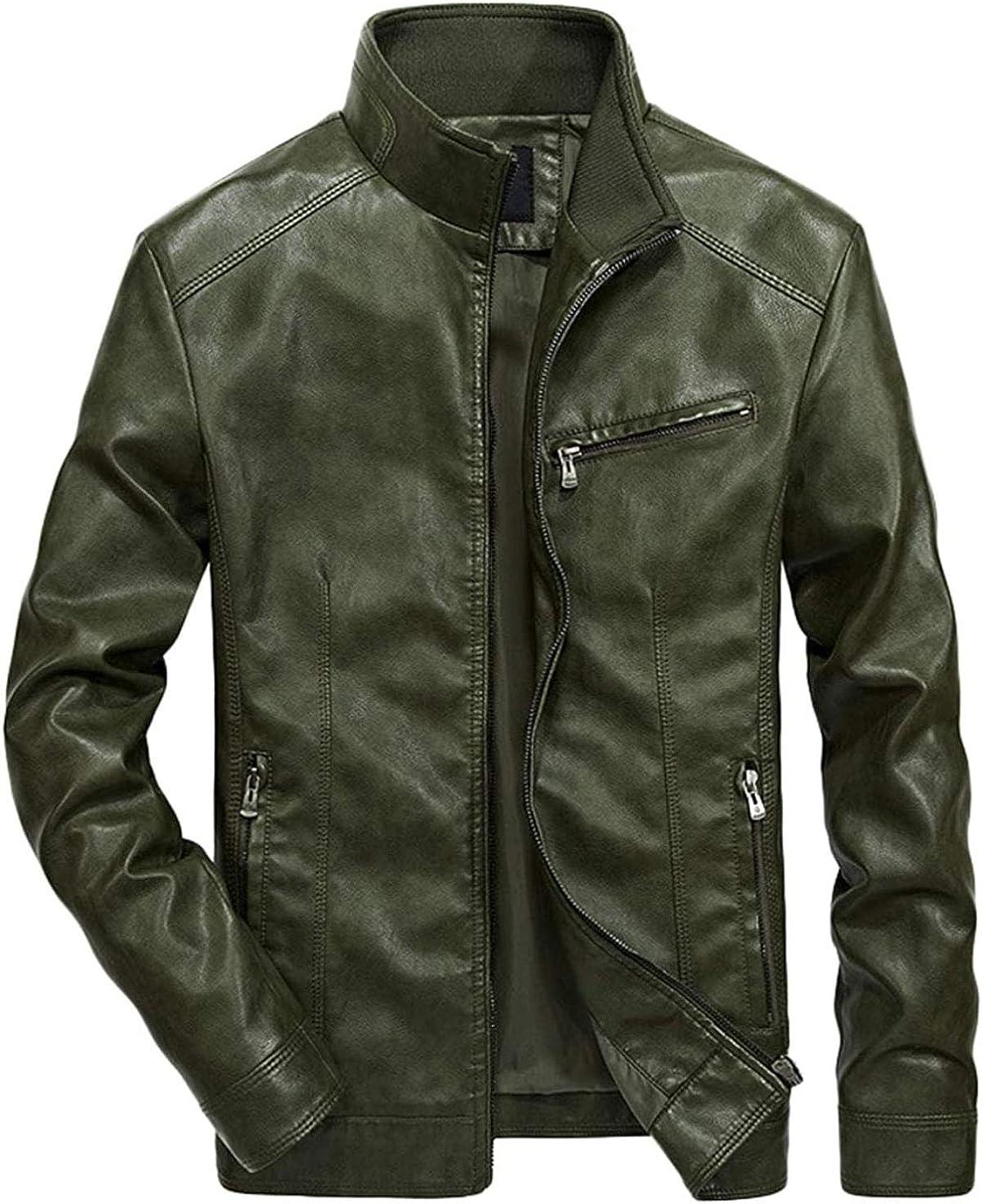 Men's Simple Stylish Full-Zip Work Wear Faux Leather Moto Jacket