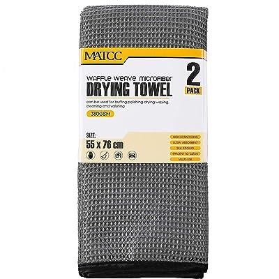 MATCC Microfiber Drying Towel Waffle Weave 2 Pa...
