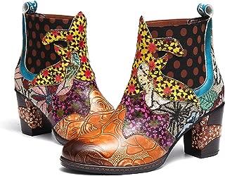 Botines de Mujer 2019 Cuero Invierno Tacon Alto Forro de Piel Botas de Botas de Nieve Botas de Bajo Zapatos Chelsea Hecho a Mano Color Tela de Colores