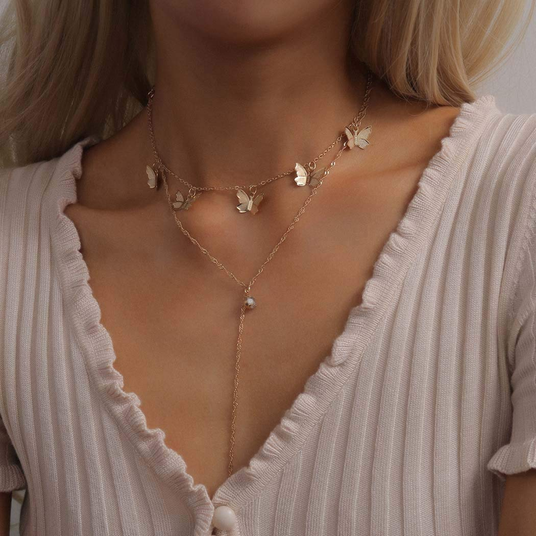Vivilly Simple Butterfly Y-Necklace Gold Diamond Geometery Multilayer Necklaces Jewerly for Women and Girls (A)