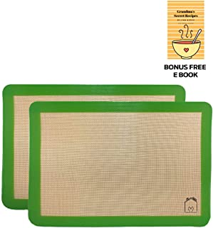 For Keeps 2 Silicone Baking Mats Half Sheet 16 1/2in x 11in Free E-Cook Book Green Non Stick BPA Free Used for Baking No Greasing or Parchment Paper to Avoid Sticking Easy Storage Durable Long Lasting