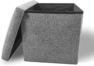 Storage Ottoman Cube Folding Ottomans with Storage Foot Rest Stool Seat Foldable Storage Ottoman Square Toy Chest Padded with Memory Foam Lid Sofa Bed for Space Saving 11.8x11.8x11.8 inch, Grey