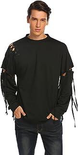 COOFANDY Mens Cotton Fashion Casual Long Short Sleeve Hip Hop Solid T-Shirt