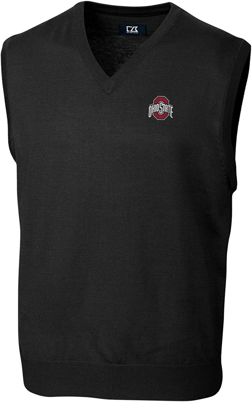 (Medium, Ohio State Buckeyes Black)  Cutter & Buck Douglas VNeck Sweater Vest