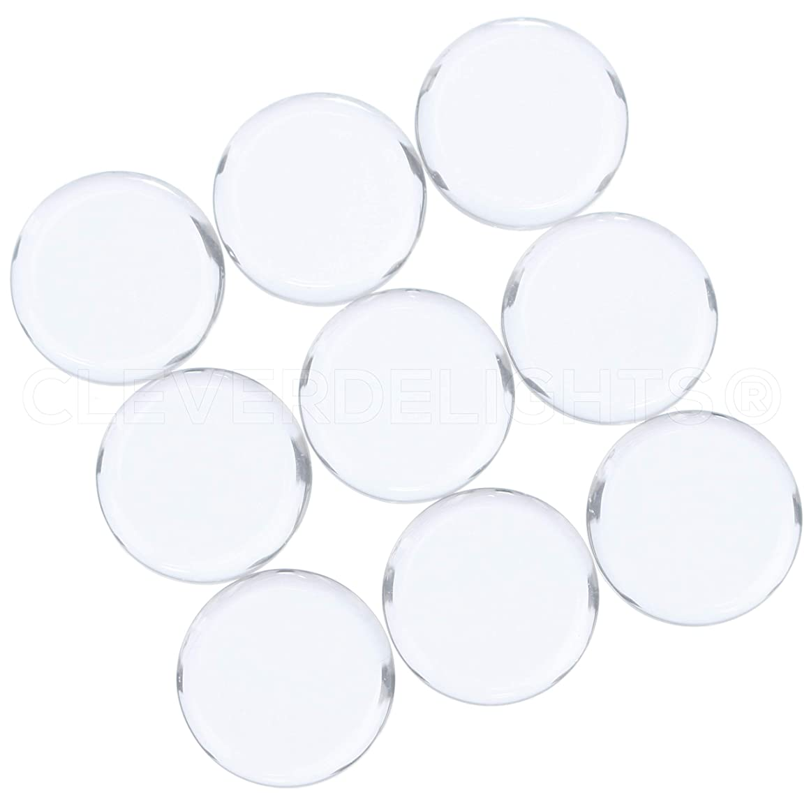CleverDelights 50 18mm Round Glass Tiles - 11/16