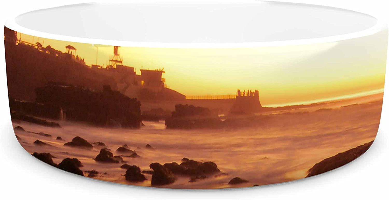 KESS InHouse Nick Nareshni Rocks of La Jolla Sunset  Yellow orange Pet Bowl, 7