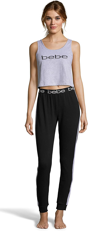 Bebe Intimates Women's Crop Tank Top and Skinny Pant Pajama Sleep Set