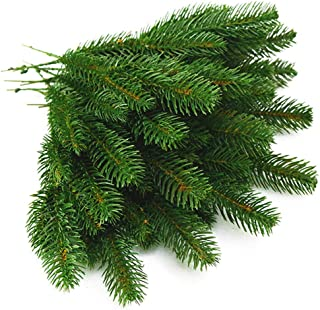 Yarssir 25pcs Artificial Pine Green Leaves Needle Garland for Christmas Embellishing and Home Garden Decor, 11x4.7 Inches(Green-25 Pack)