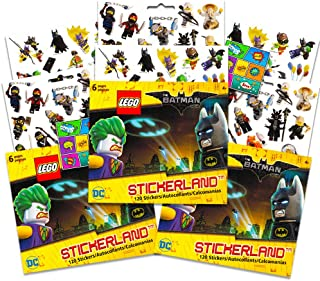 Lego Batman Stickers Party Favors Pack - 18 Sheets of Lego Batman Stickers Bundled with 2 Bonus Separately Licensed Reward Stickers