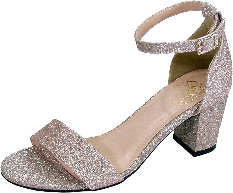 Floral Adele Women Wide Width Satin Glitter Block Heel Ankle Strap Party Sandals (Size Measurement)