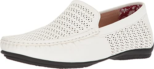 STACY ADAMS Hommes's Cicero Perfed Perfed MOC Toe Slip-ON Driving Style Loafer, blanc, 8 M US  prix ultra bas