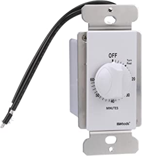 Woods 59717 In-Wall 60 Minute Spring Wound Timer, White