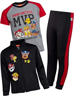 Nickelodeon Boys Paw Patrol 3-Piece Jogger Set - Fleece Zip Jacket, Jogger and T-Shirt