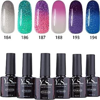 Yaoshun Soak Off Gel Nail Polish Temperature Color Changing Series 6Pcs Sets 10ml Mixed Colors #006