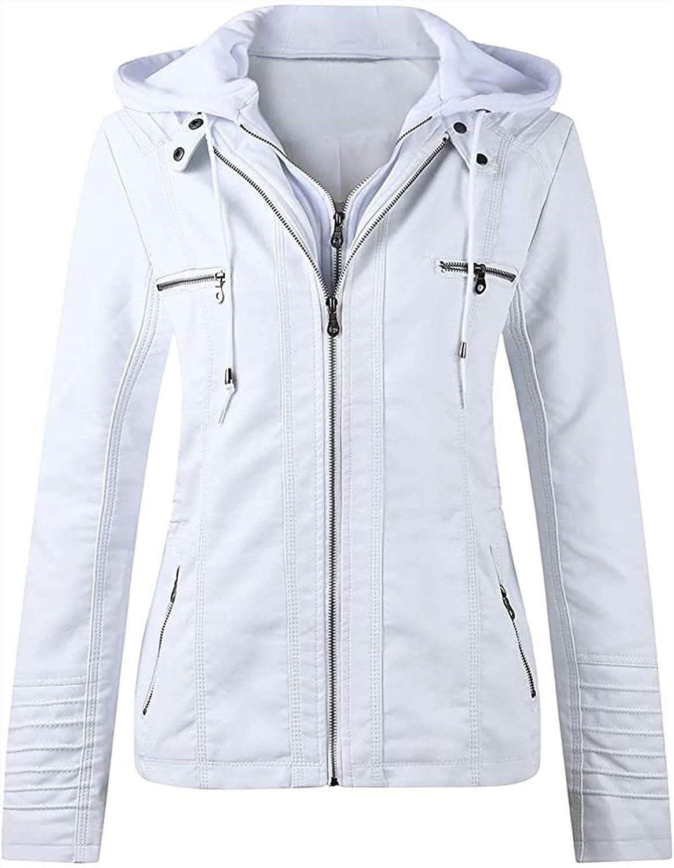 Women Fashion Leather Jacket Faux Leather Short Jacket Solid Color Zipper Leisure Slim Jackets Autumn Winter Coat (Color : White, Size : 3X-Large)