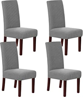 Best H.VERSAILTEX Stretch Dining Chair Covers Set of 4 Chair Covers for Dining Room Parsons Chair Slipcover Chair Protectors Covers Dining, Feature Textured Checked Jacquard Fabric, Dove Review