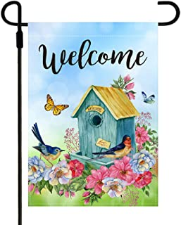 Yileqi Welcome Flower Garden Flag Double Sided Watercolor Flowers Bird Butterfly Spring Summer Garden Flag, Burlap Seasona...