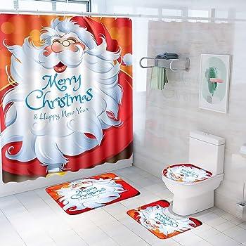 US Merry Christmas Shower Curtain Bathroom Anti-slip Rug Toilet Cover Mat Set