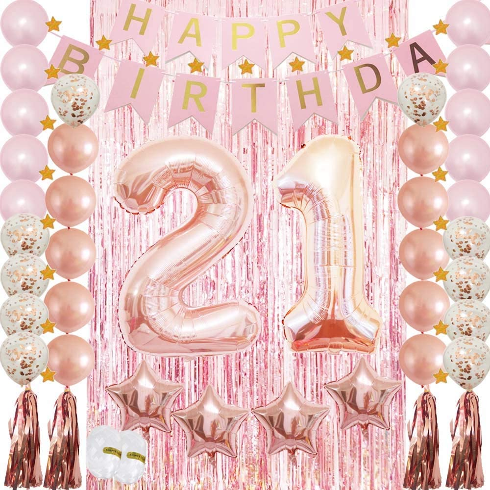 Amazon Com 21st Birthday Decorations 21st Birthday Party Supplies Rose Gold Confetti Latex Balloon Tassel Garland Tinsel Foil Fringe Curtains Happy Birthday Banner As Gift Favors Photo Booth Props For Her Girl Kitchen Dining