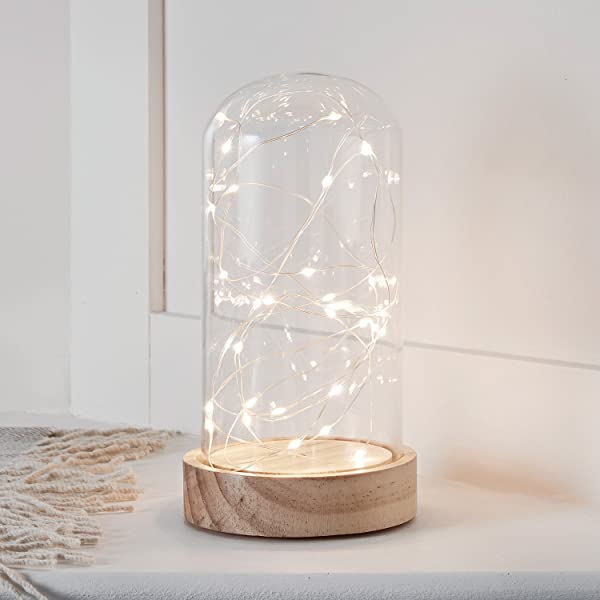 Battery Operated LED Fairy Light Glass Dome With Wooden Base 9 X 4 5