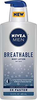 Nivea Men Breathable Body Lotion - Sweat Evaporates Faster, No Sticky Feel, Fresh Scent, Dry Skin, 13.5 Ounce