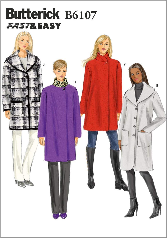 Butterick Patterns B5966 B5 colore bianco Cartamodello per cappotto con cintura modello da donna