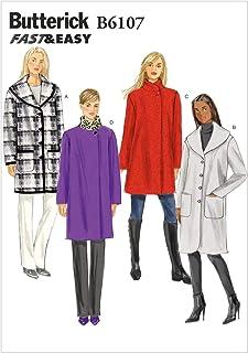 6debaf2d7e Butterick Patterns 6107 ZZ - Patrones para Abrigo de Mujer (Tallas L, XL y