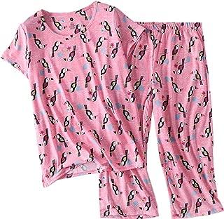 Women's Pajama Set - Sleepwear Tops with Capri Pants Casual and Fun Prints Pajama Sets