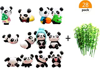 Lauren 28 Pack Plastic 3d Panda and Emulation Bamboo Cake Toppers Decorations for Birthday Theme Party