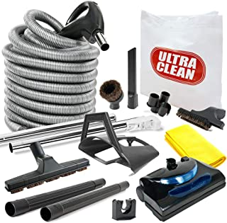 Central Vacuum kit with Powerhead, Hose and Tools for Beam Electrolux Nutone Hayden fits All Brands White Head (Black, 35ft)