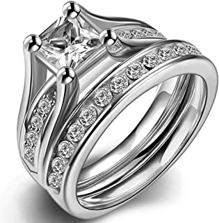 Stainless Steel Princess Cut Wedding Engagement Ring Set Anniversary Propose Eternity Bridal Halo