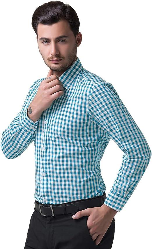 100% ALGODÓN Botones Camisa a Cuadros Hombre Azul Camisa a ...