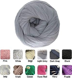 clootess Chunky Merino Wool Yarn Bulky Big Roving for DIY Hand Made Knit Blanket Throw - Light Grey 8 lbs