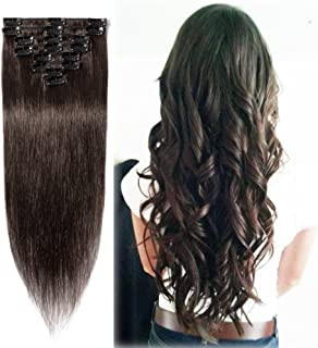 Clip in Human Hair Extensions 24 inch Dark Brown 100% Human Hair Silky Straight Clip on 8pcs Set Standard Weft 80g Full Head for Women (24